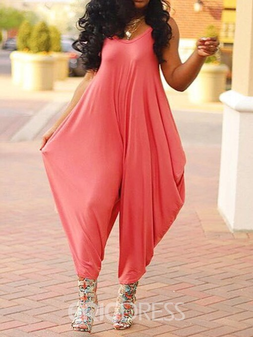 Ericdress Plain Full Length Loose Strap Jumpsuit(Withouot Belt)