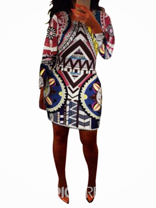 Ericdress African Fashion Round Neck Geometric Above Knee Bodycon Dress