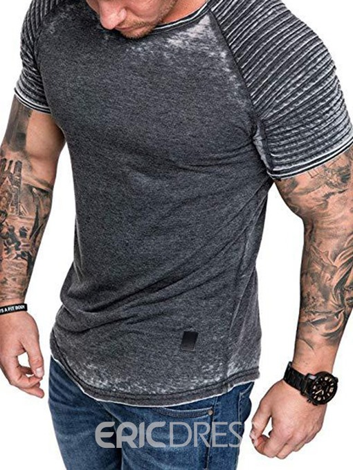 Ericdress Casual Pleated Short Sleeve Mens Slim T-shirt