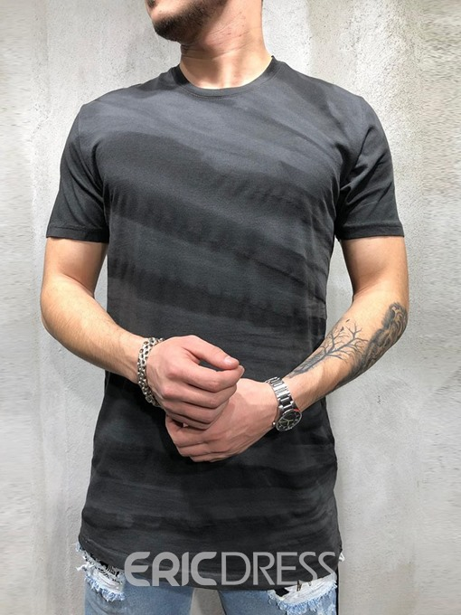 Ericdress Print Round Neck Casual Short Sleeve Mens Straight T-shirt