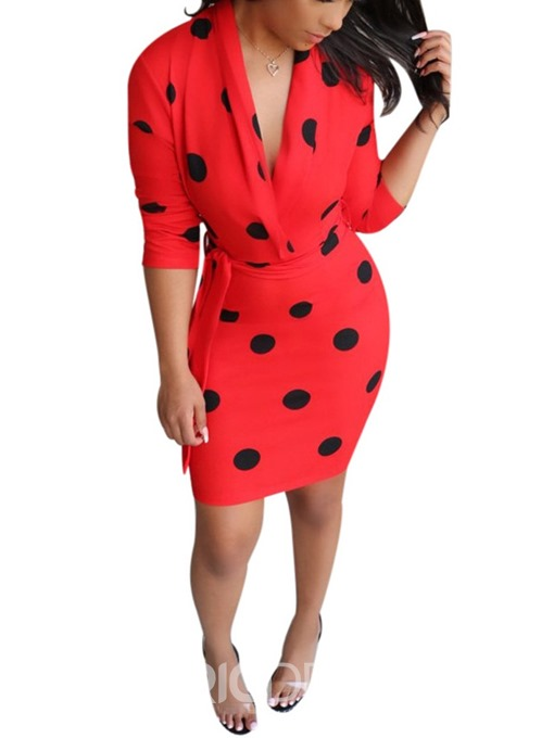 Ericdress Print V-Neck Nine Points Sleeve Polka Dots Fall Dress