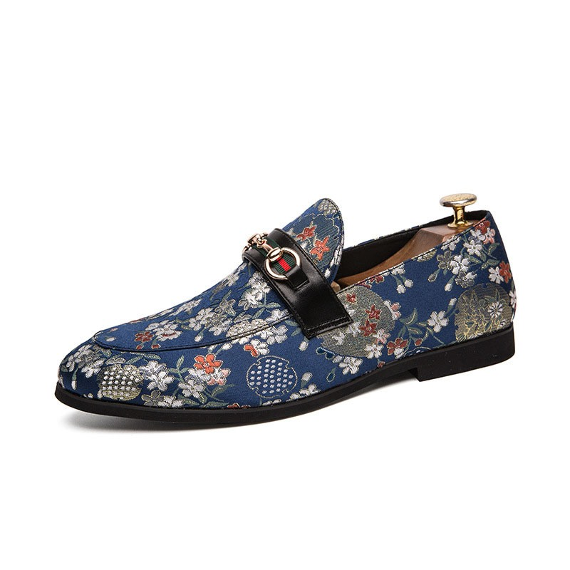 Ericdress Floral Round Toe Slip-On Men's Dress Shoes