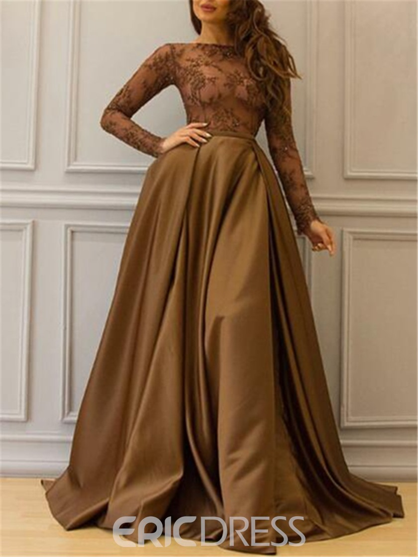 Eridress Long Sleeves Appliques A-Line Evening Dress 2019