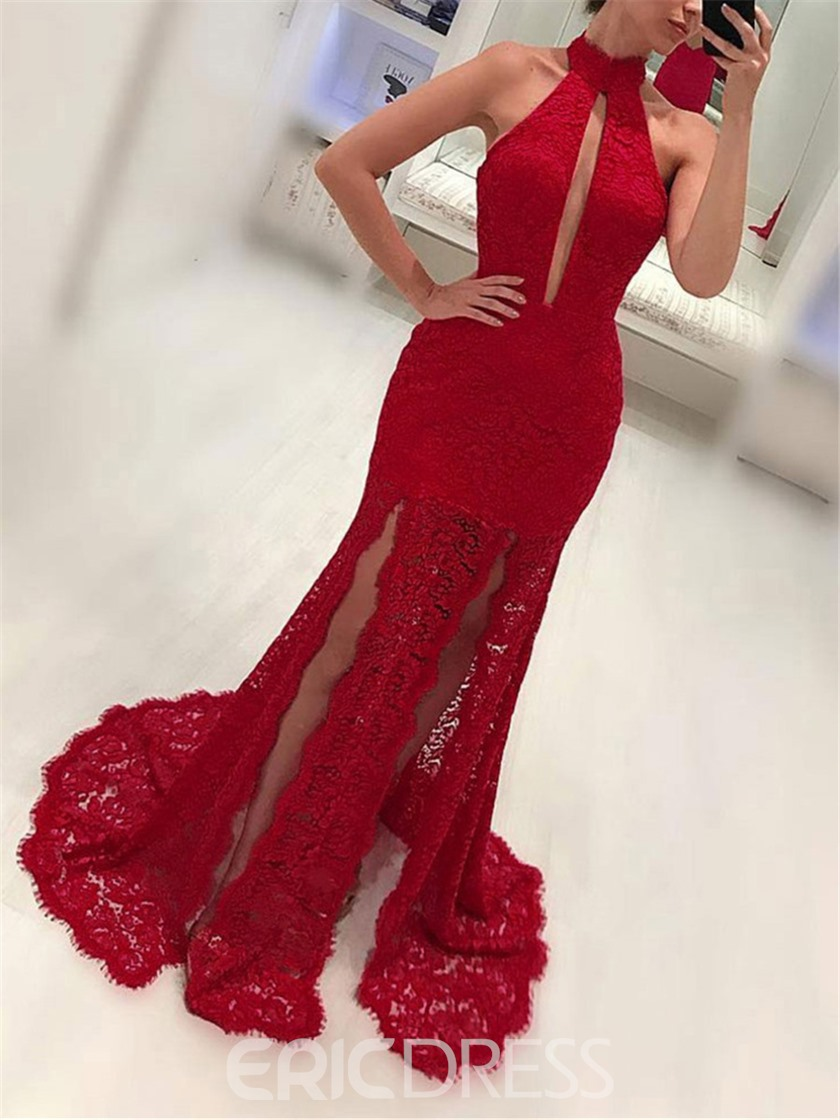 Ericdress Appliques Sheath Lace Halter Evening Dress