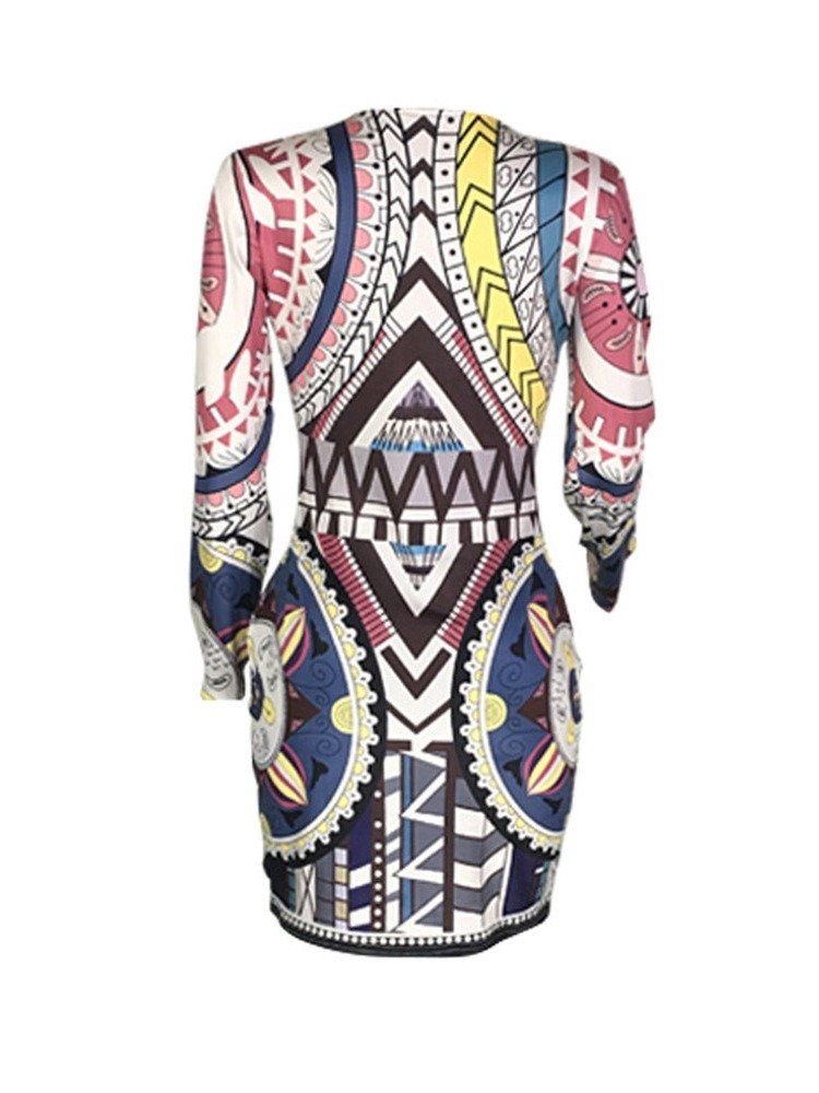 Ericdress Print African Fashion Round Neck Geometric Bodycon Dress