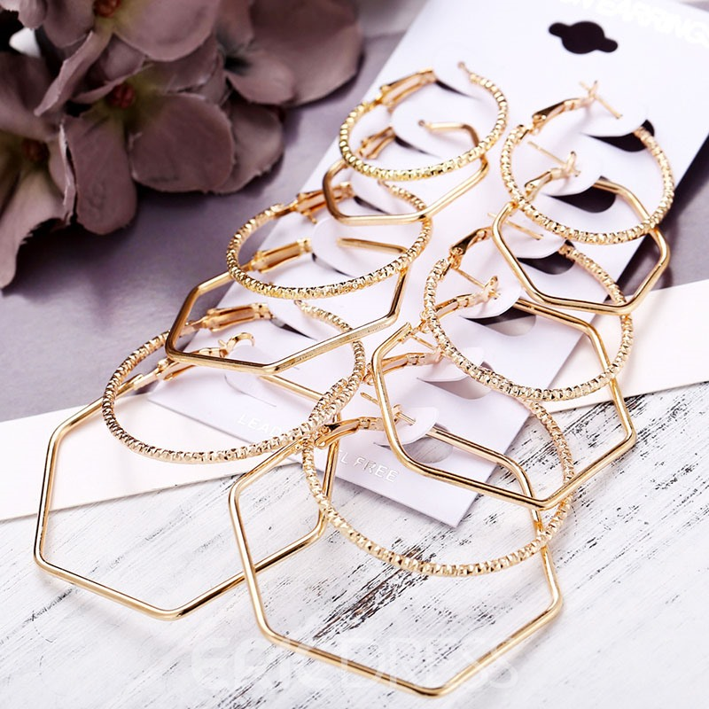 Ericdress Plain Hoop Golden Earrings