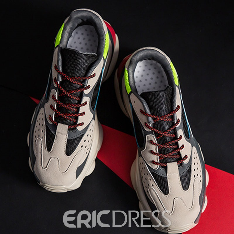 Ericdress Mesh Color Block Round Toe Lace-Up Men's Sneakers