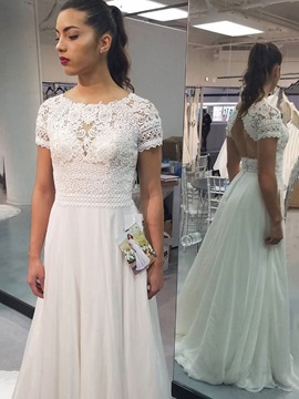 Ericdress Lace Short Sleeves Beach Wedding Dress 2019