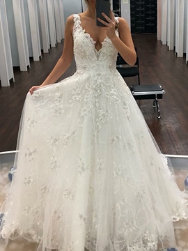 Ericdress Appliques V-Neck Beading Outdoor Wedding Dress 2019