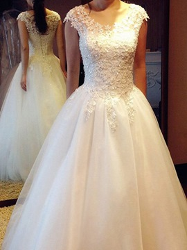 Ericdress Sequins Cap Sleeves Outdoor Wedding Dress