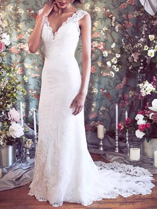 Ericdress V Neck Mermaid Hall Lace Wedding Dress 2019