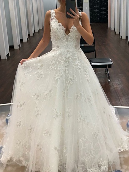 Ericdress Appliques V-Neck Beading Outdoor Wedding Dress