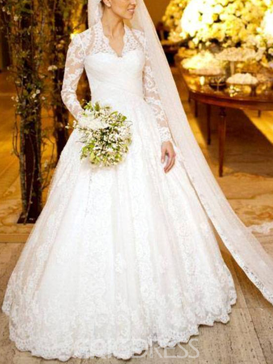 Ericdress Long Sleeve Button Lace Wedding Dress