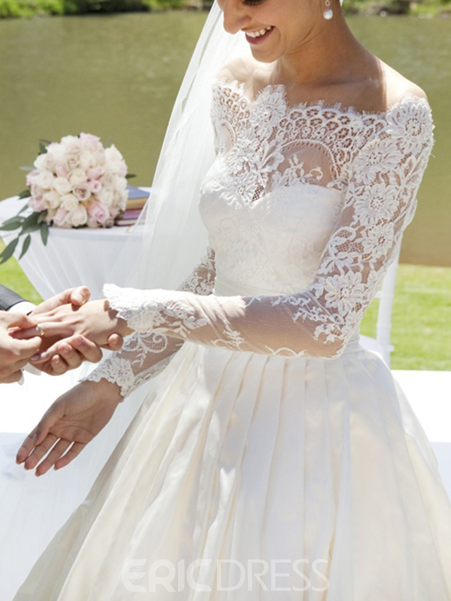 Ericdress Long Sleeves Off-The-Shoulder Lace Wedding Dress 2019