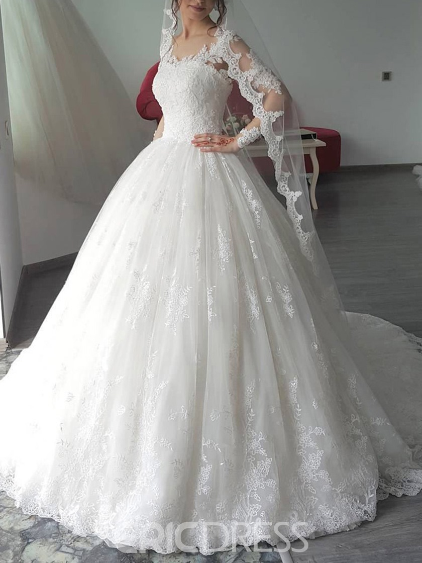 Ericdress Ball Gown Long Sleeves Lace Wedding Dress 2019