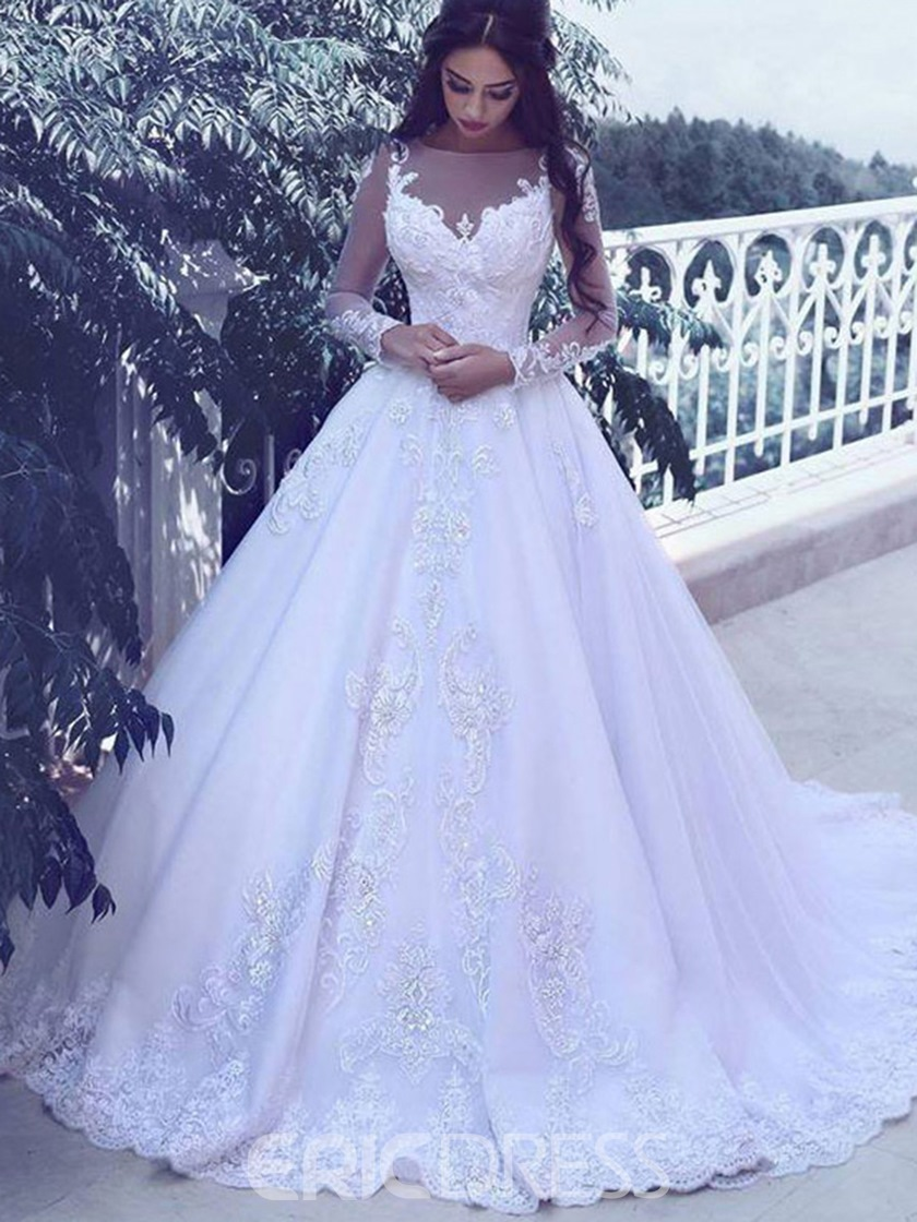 Ericdress Bateau Neck Lace Applique Long Sleeves Wedding Dress 2019