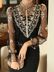 Ericdress Floral Lace Regular Mid-Length Blouse фото