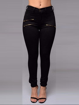 Ericdress Plain Pencil Pants Zipper Skinny Jeans