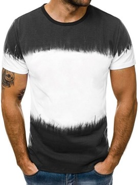 Ericdress Color Block Round Neck Casual Slim Mens Short Sleeve T-shirt