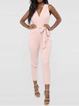 Ericdress Plain Bowknot Ankle Length Skinny Jumpsuit