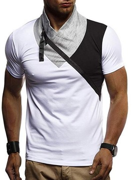 Ericdress Color Block Casual Heap Collar Slim Mens Short Sleeve T-shirt