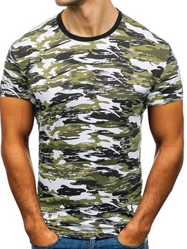 Ericdress Round Neck Casual Camouflage Slim Mens T-shirt