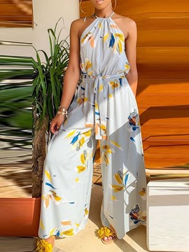 Ericdress Print Floral Collect Waist Loose Wide Legs Jumpsuit