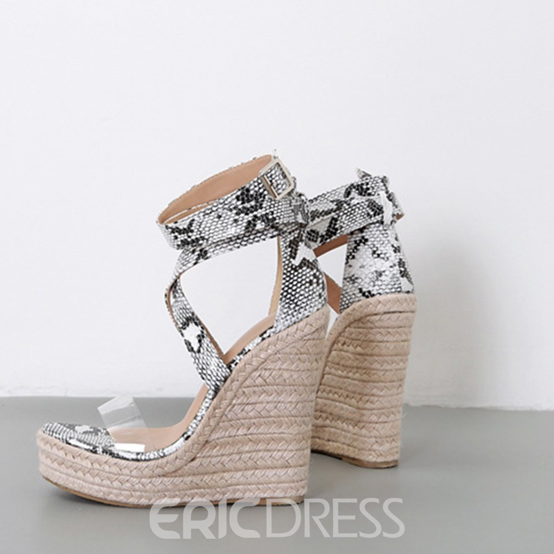 Ericdress Serpentine Buckle Heel Covering Wedge Heel Women's Sandals