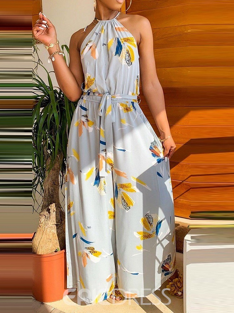 Ericdress African Fashion Print Floral Collect Waist Loose Wide Legs Jumpsuit