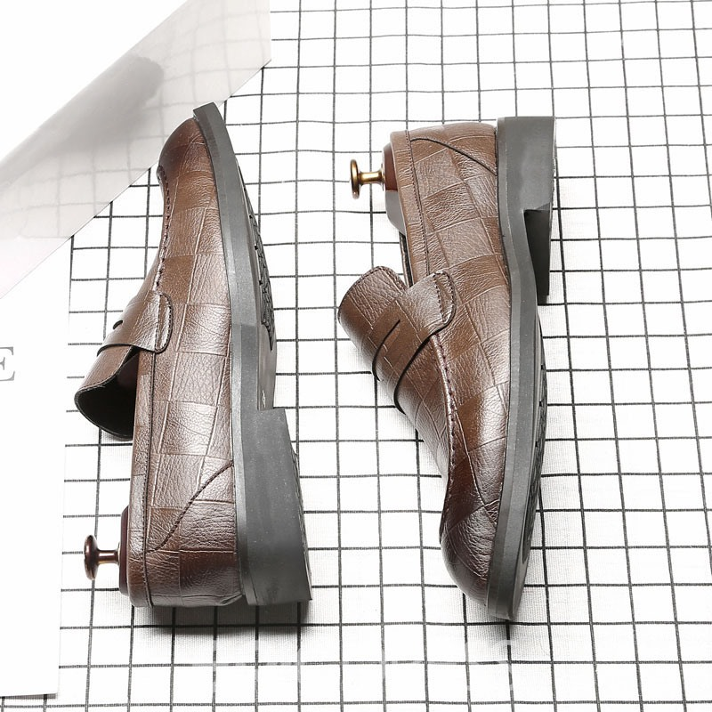 Ericdress Plaid Slip-On Pointed Toe Men's Shoes