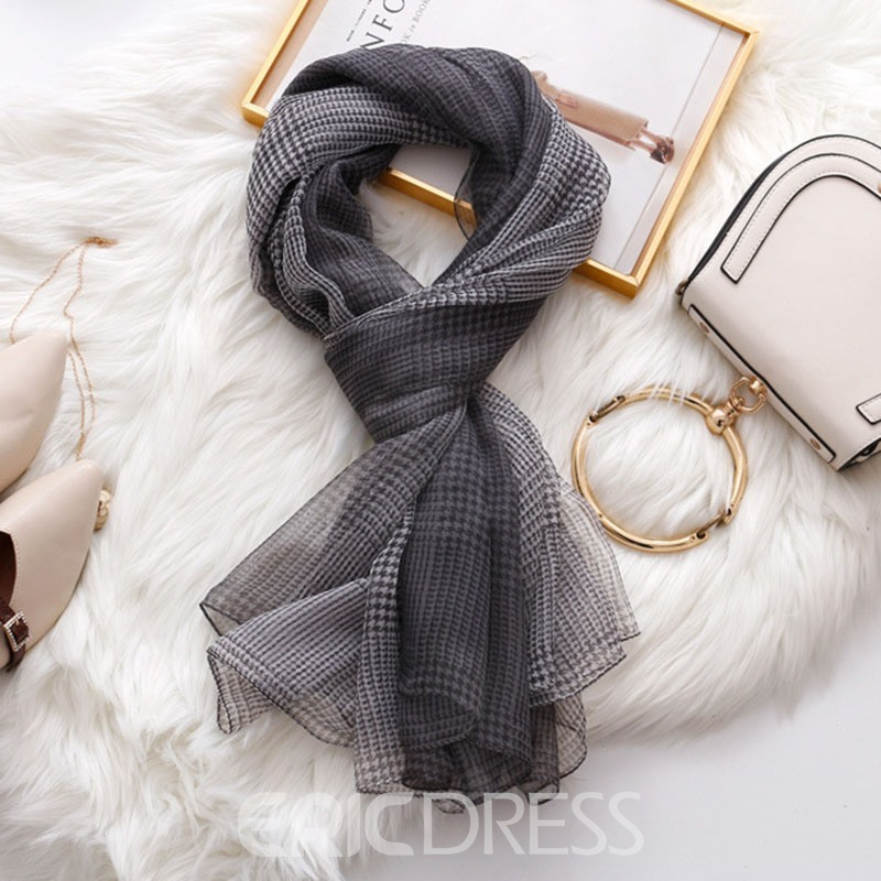 Ericdress Grid Chiffon Charmeuse Plaid Scarf