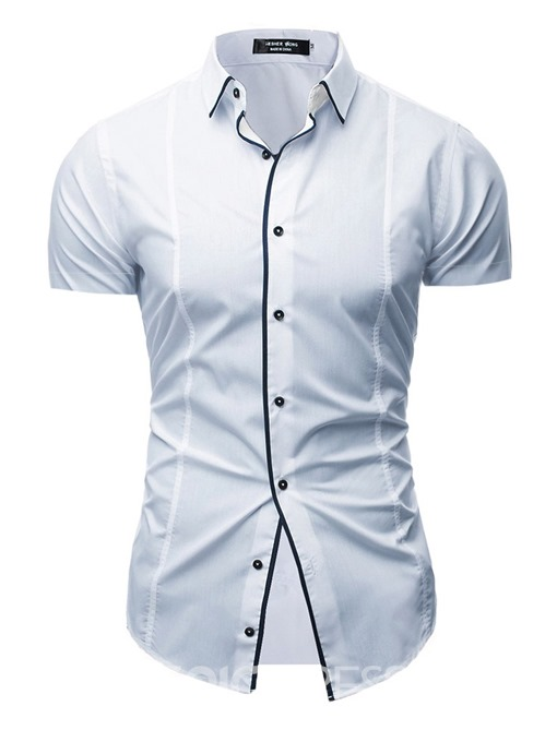 Ericdress Casual Color Block Lapel Slim Mens Summer Shirt