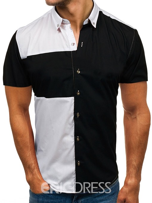 Ericdress Lapel Casual Color Block Slim Mens Single-Breasted Shirt