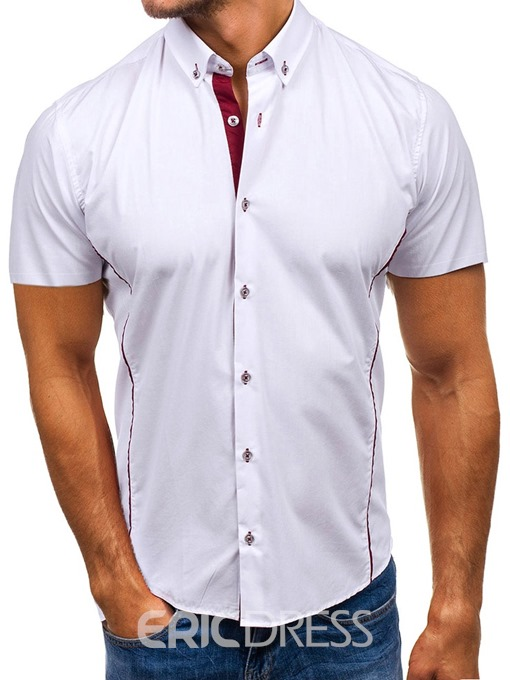 Ericdress Button Casual Lapel Slim Mens Single-Breasted Shirt