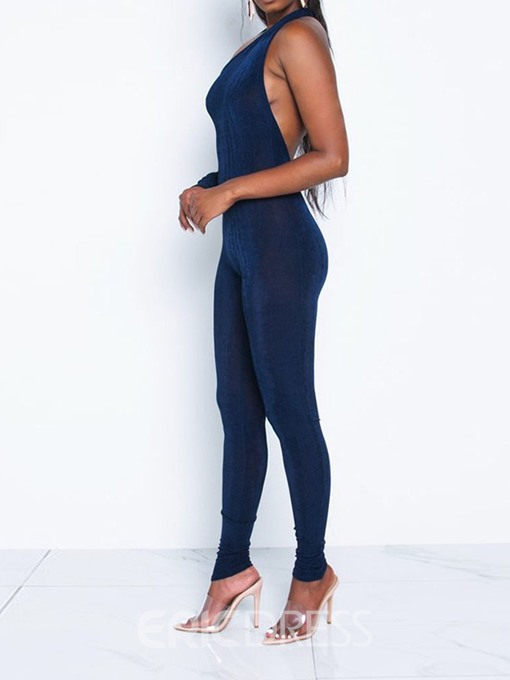 Ericdress Asymmetric Plain Pencil Pants Skinny Jumpsuit