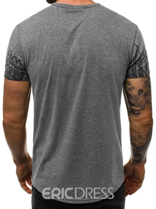 Ericdress Print Casual Round Neck Slim Mens Short Sleeve T-shirt