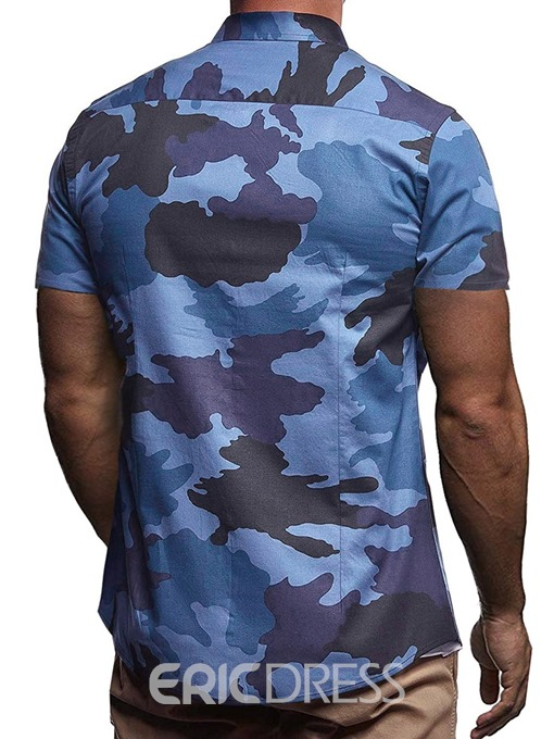 Ericdress Lapel Casual Camouflage Single-Breasted Mens Slim Shirt