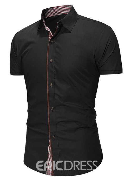 Ericdress Button Casual Lapel Single-Breasted Mens Summer Shirt