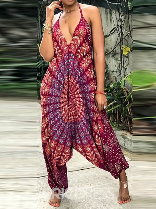 Ericdress African Fashion Ankle Length Office Lady Print Loose Jumpsuit