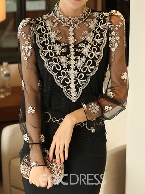 Ericdress Floral Lace Regular Mid-Length Blouse