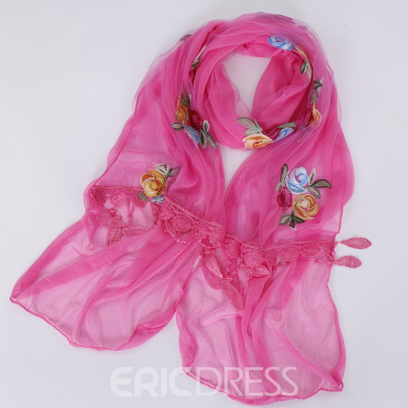 Ericdress Embroidery Ladylike Floral Scarf