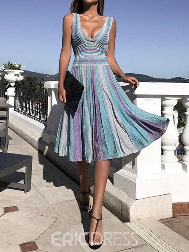 Ericdress V-Neck Patchwork Knee-Length Party Dress