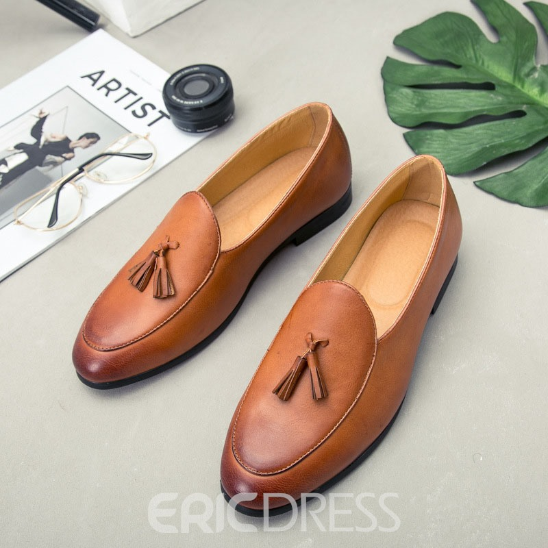 Ericdress Plain Slip-On Round Toe Men's Dress Shoes