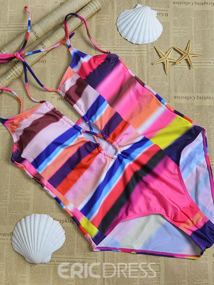 Ericdress Lace-Up Color Block Skimpy Swimwear