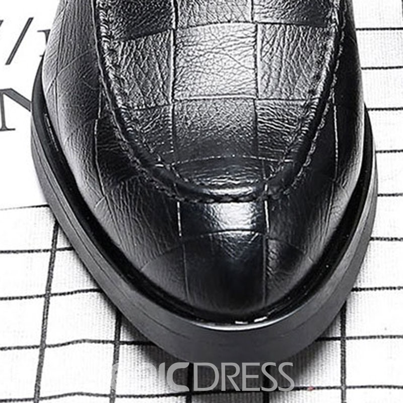 Ericdress PU Lace-Up Pointed Toe Block Heel Men's Shoes