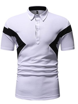 Ericdress Polo Neck Button Color Block Mens Shirt