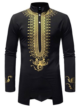 Ericdress African Fashion Dashiki Stand Collar Mens Slim Shirt