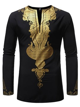 Ericdress African Fashion Dashiki V-Neck Slim Mens Shirt