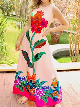 Ericdress Print Floor-Length Sleeveless Expansion Travel Look Dress