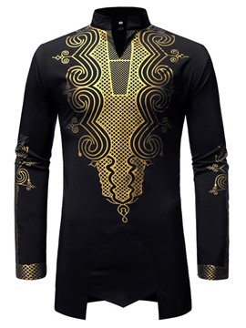Ericdress African Fashion Dashiki Stand Collar Slim Mens Shirt